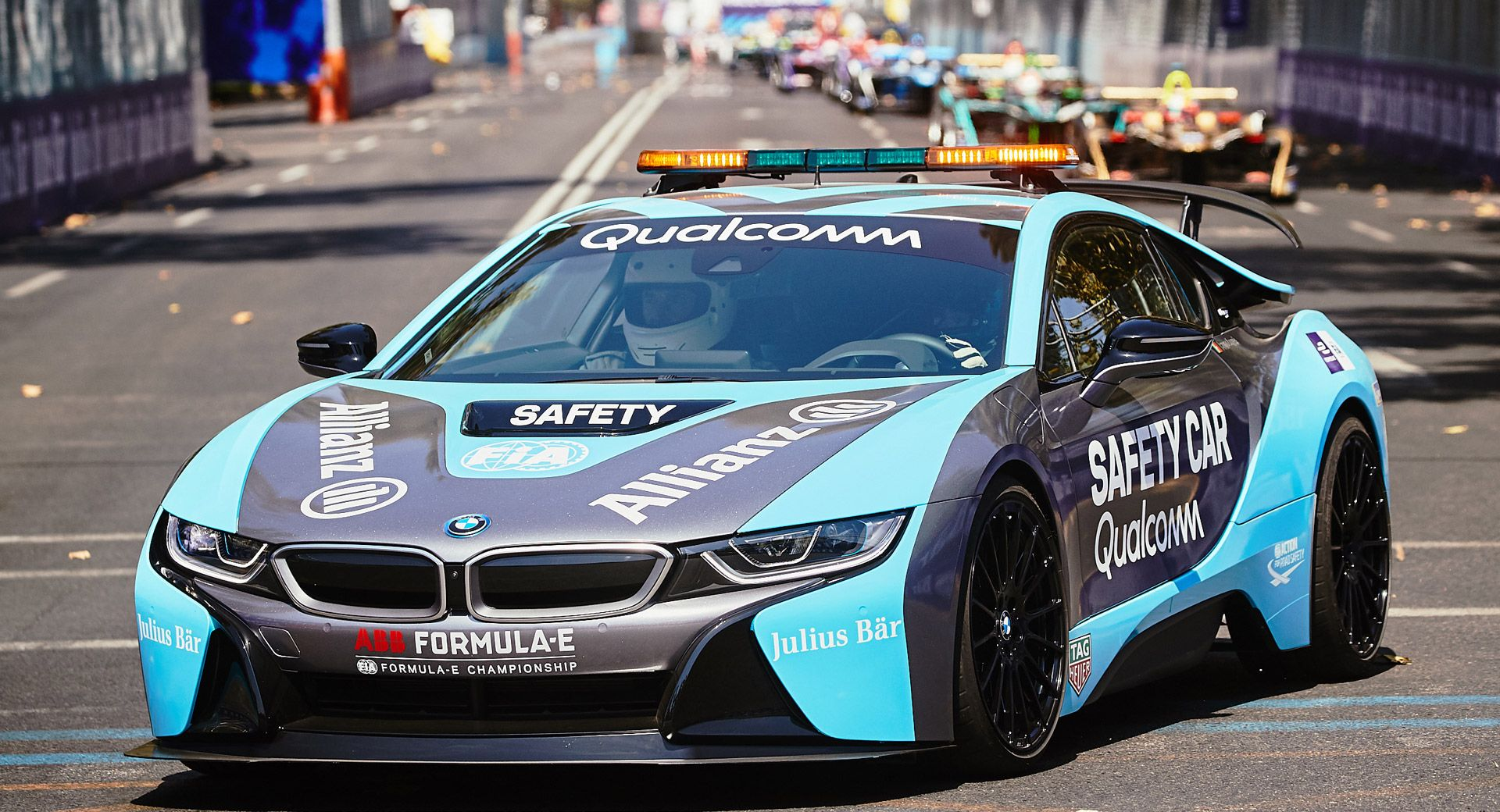 Bmw I8 Hits The Track With Inductive Charging As Formula E Safety Car Carscoops Bmw Car Safety Bmw I8