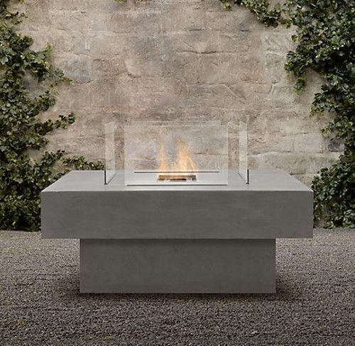 Charming Square Stone FireTable   Modern   Firepits   Restoration Hardware