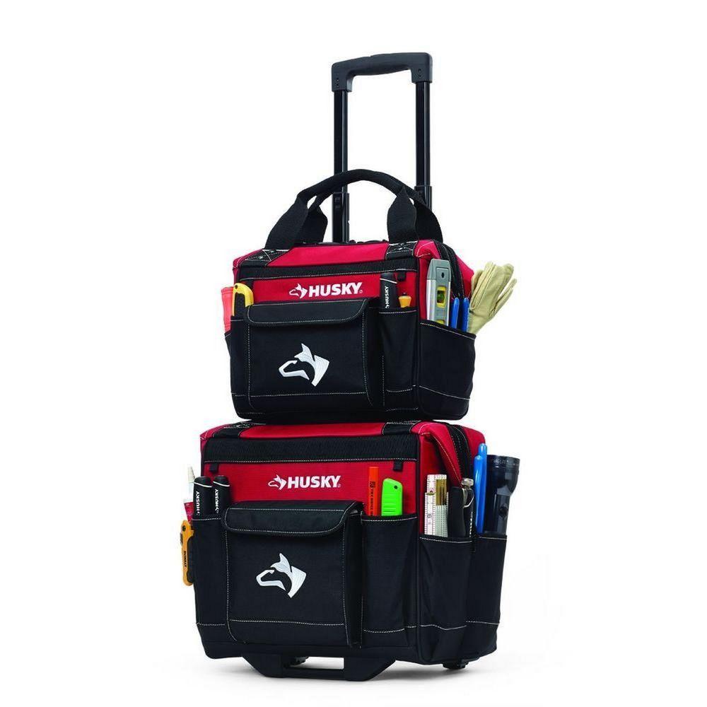 c31bcc6b236d Husky 14 In. Rolling Wheeled Tool Tote Pocket Organizer With Bonus Storage  Bag  Husky