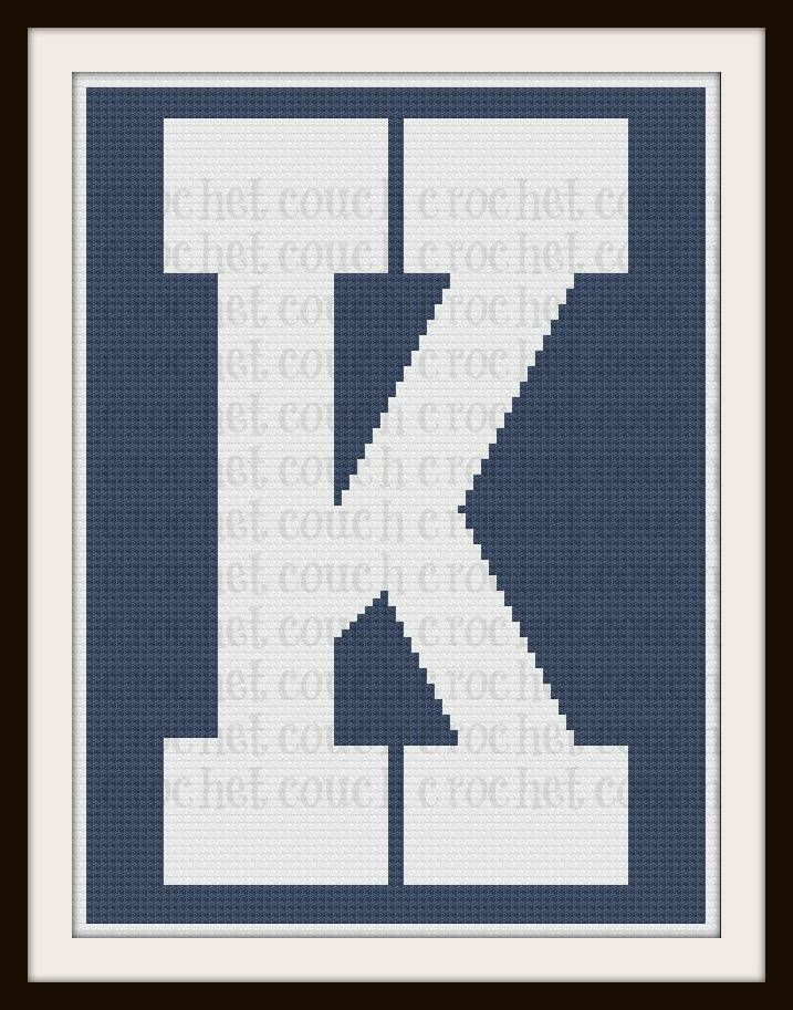Letter K TWIN Afghan, C2C Graph, Written Word Chart | C2C | Pinterest