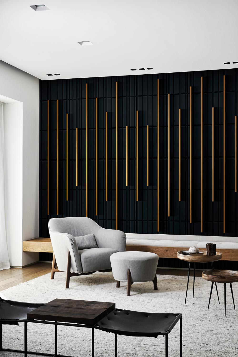 New wave  LondonArt  Feature wall bedroom, Interior wall design