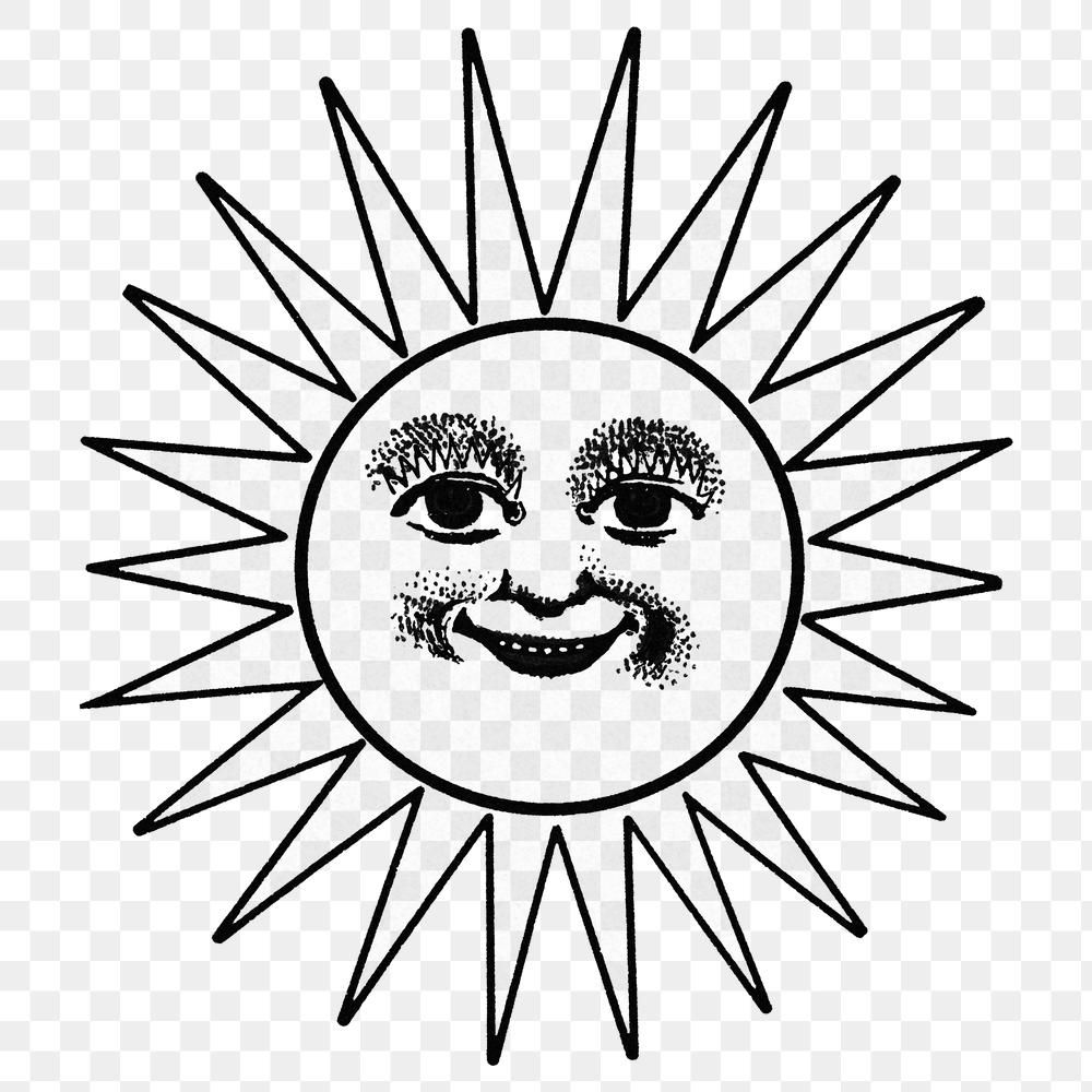 Smiling Celestial Sun Face With Ray Line Art In Black And White Design Element Free Image By Rawpixel Com Ao Black And White Design Line Art Design Element