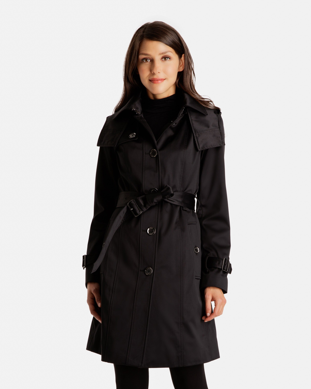 Mia Satin Heritage Trench Coat with Detachable Hood | London Fog ...