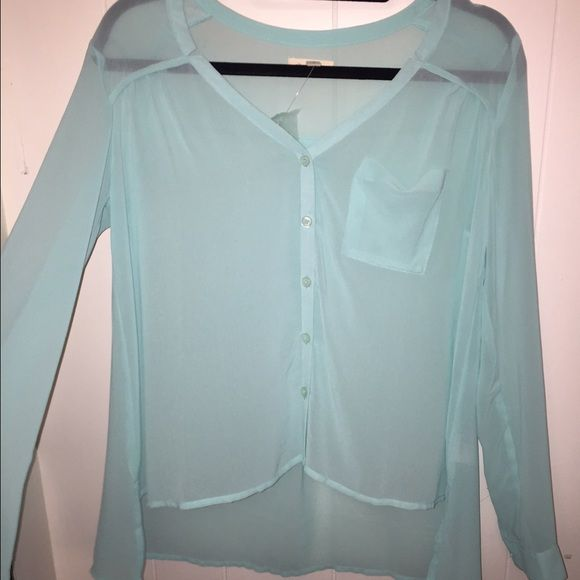 Blue Chiffon Button Up! ** NEVER WORN ** // Second picture is to show how it can be styled. Urban Outfitters Tops Button Down Shirts
