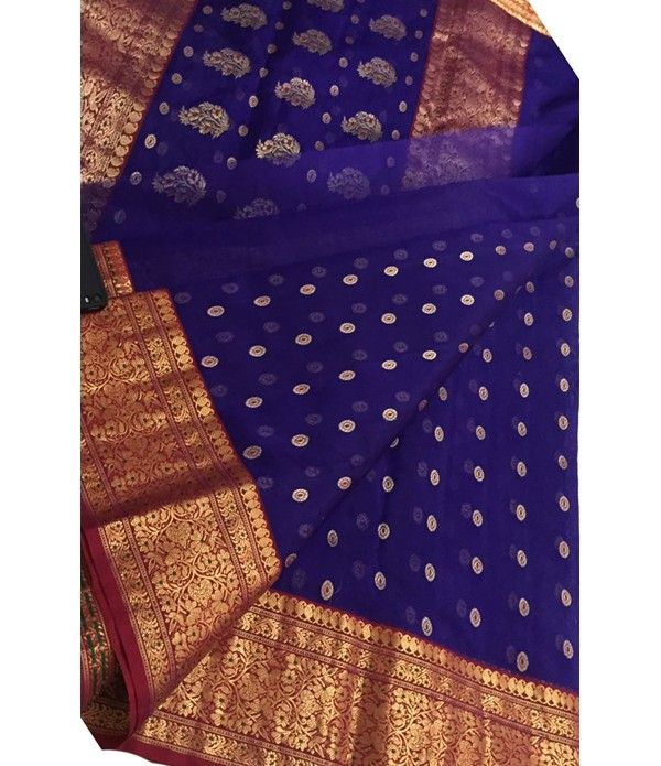 3b66abcc246e1c Blue Handloom Pure Katan Silk Chanderi Saree | Saree | Silk saree ...