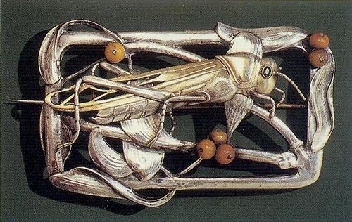 "Erik Magnussen, Grasshopper Brooch, 1907 Silver, coral. 5 x 9 cm. Der Danske Kunstindustrimuseum, Copenhagen. ""In Magnussen's jewellery insects transform into fantastic ornaments, breaking ties with elegant French models"" by Gatochy, via Flickr"