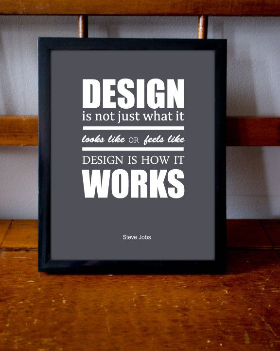 Steve Jobs Quote About Design Inspirational Poster Steve Jobs Quotes Design Quotes Inspirational Posters