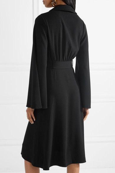 Belted Crepe Midi Dress - Black Co wGidioCQC