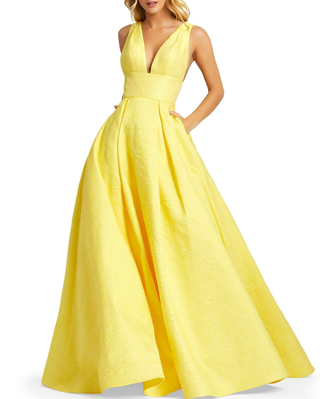 Mac duggal floral brocade empirewaist ball gown w