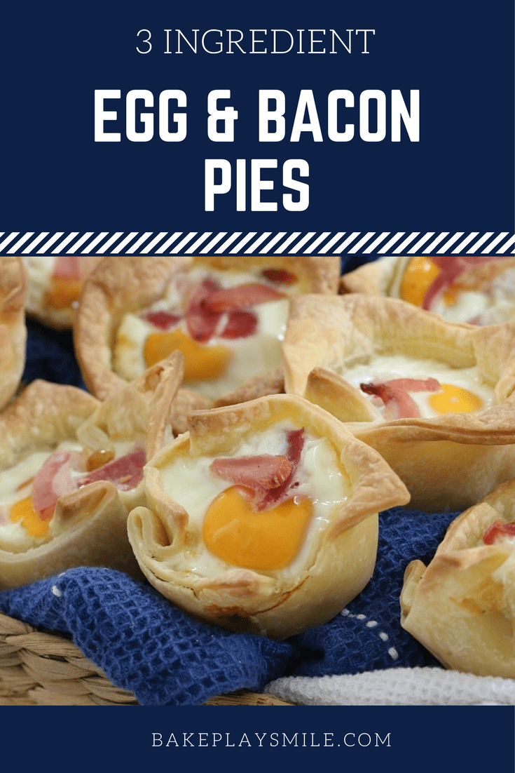 The easiest and BEST 3 INGREDIENT EGG AND BACON PIES ever… pop them into the oven for a delicious