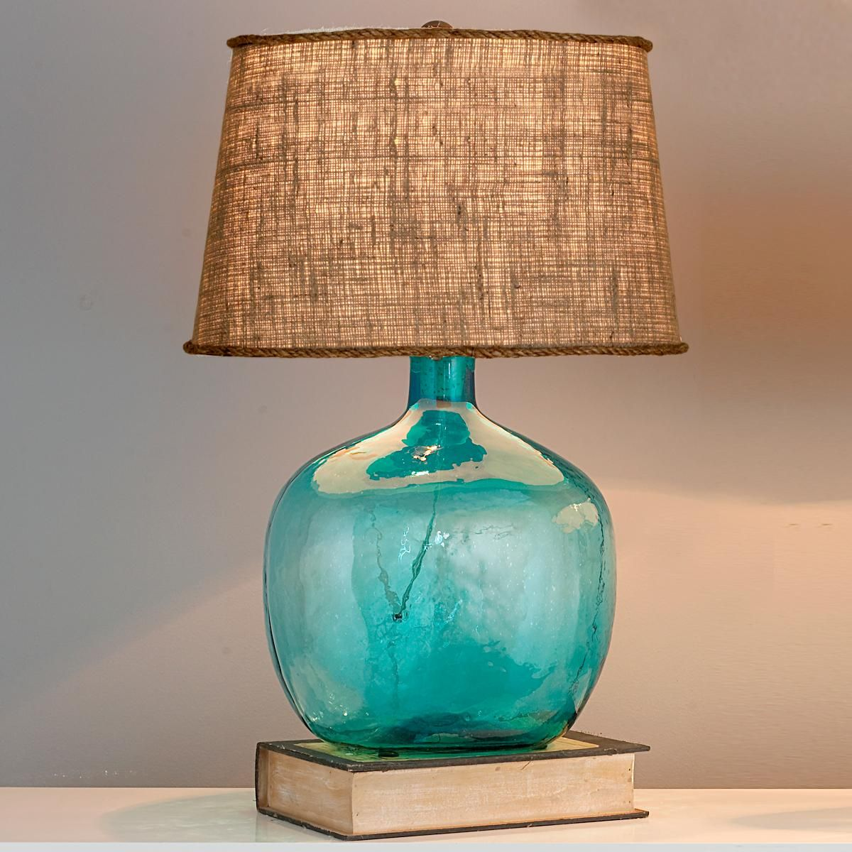 Demijohn table lamp aqua glass aqua and glass demijohn table lamp 8 colors not so sure about the shade but that reviewsmspy