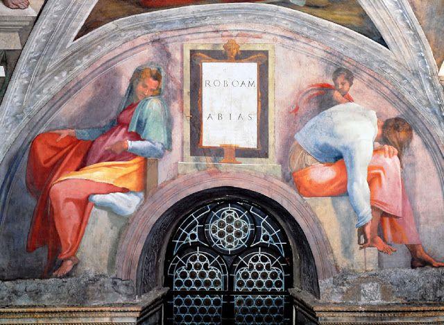 Michel ange plafond de la chapelle sixtine lunettes des anc tres du christ roboam abias - Michel ange chapelle sixtine plafond ...