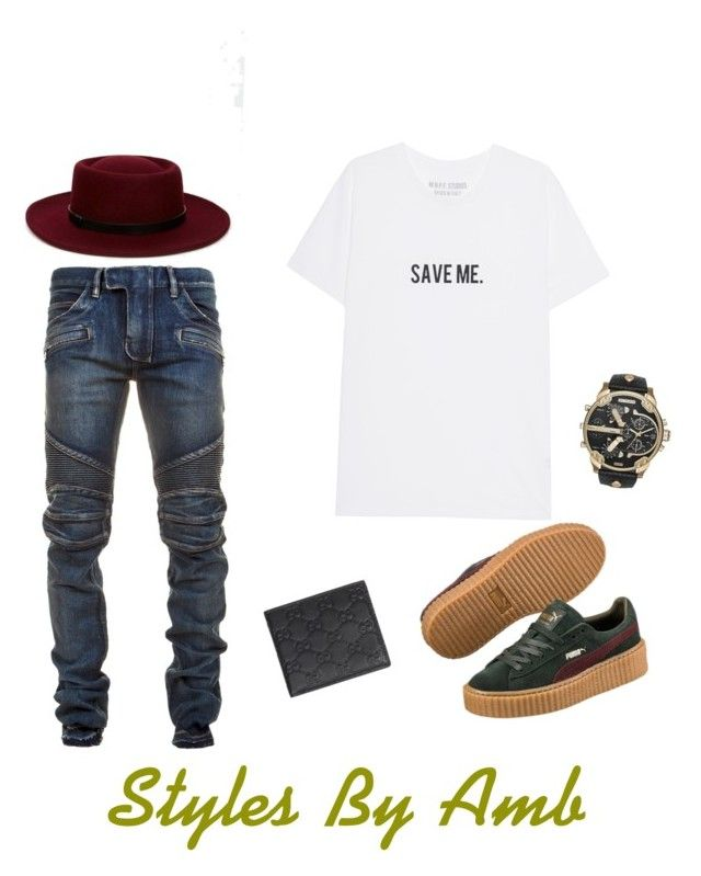 """#menstyles #stylish #styles #stylist #phillystyles #stylegram #styleaddict #styledbyme #styleinspo #mystyle #neon #mystylemyway #mystyleshare #mystylemyrules #ambstyles"" by stylesbyamberlatoya ❤ liked on Polyvore featuring ASOS, Balmain, Puma, Gucci, Diesel, men's fashion and menswear"