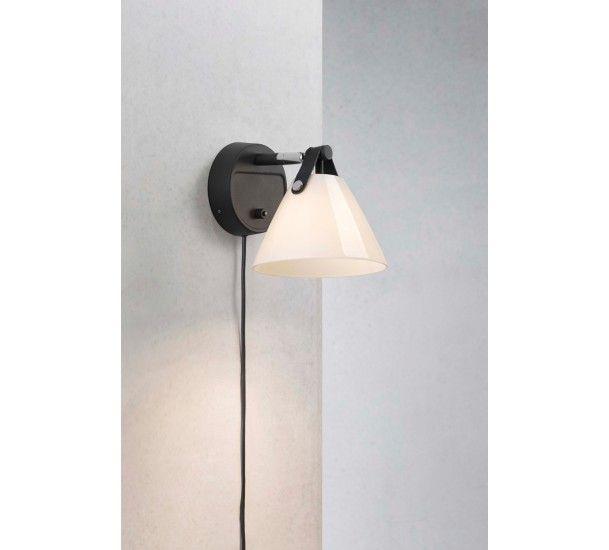 Nordlux DFTP Strap 15 Væglampe - Sort/Opalglas