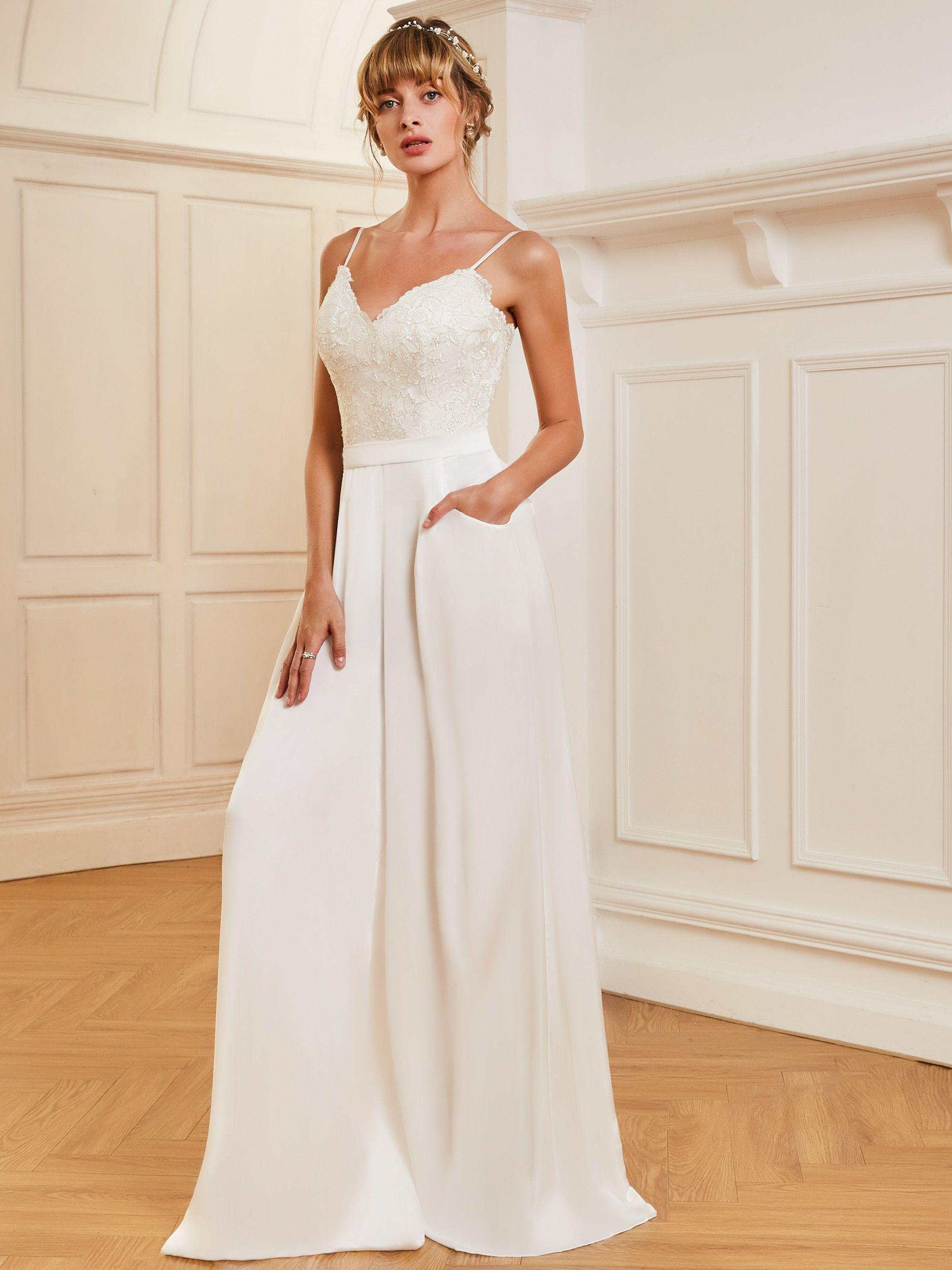 Spaghetti Straps Appliques Wedding Jumpsuit Bridal gown