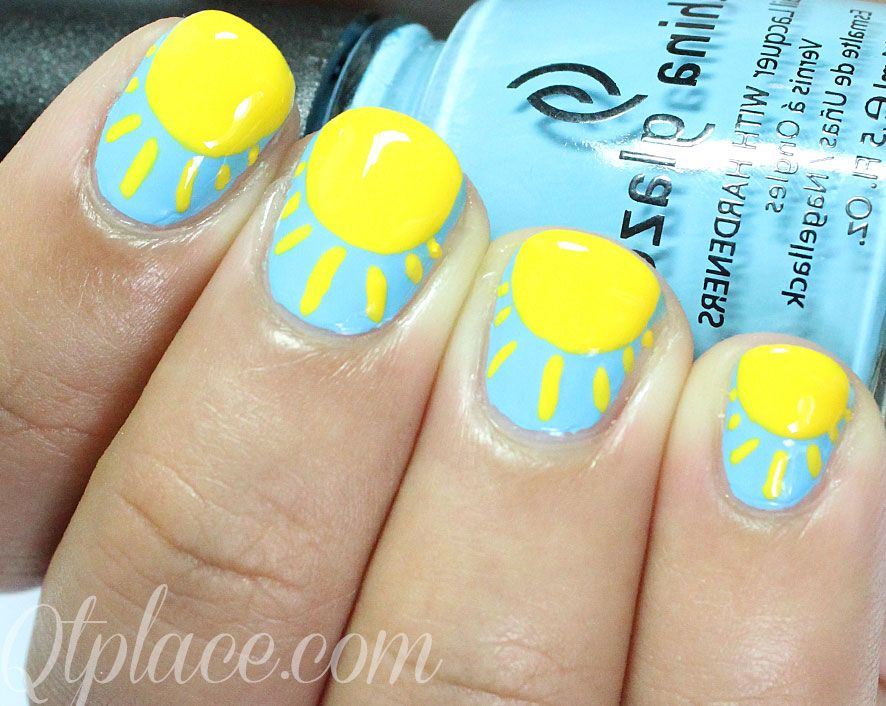 I decided to show you the easiest way of drawing a sun on your nails!! I  got some requests for very easy nail art designs and loved making these  cute and ... - Sun Nails Summer Nails #DIY #Nails #Summer Nails Pinterest