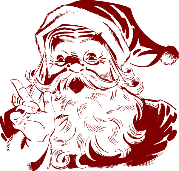 Vintage Santa Claus Clip Art Dark Red Santa Clip Art Vintage Santas Christmas Postcard Vintage Santa Claus