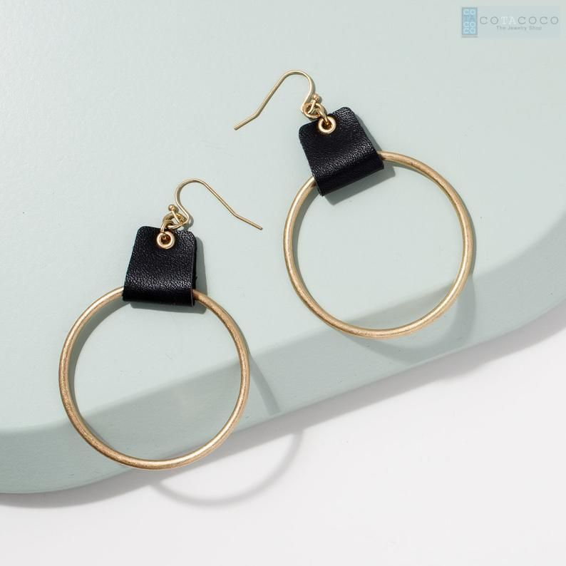 Photo of Hoop with leather accent earrings Statement earrings   Etsy