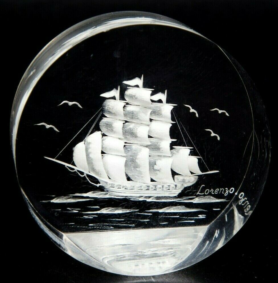 Vintage Clipper Ship Paperweight Lorenzo Signed Lucite Block Etched Art Sailing In 2021 Fish Decor Wall Art Souvenir Art Egg Artistry