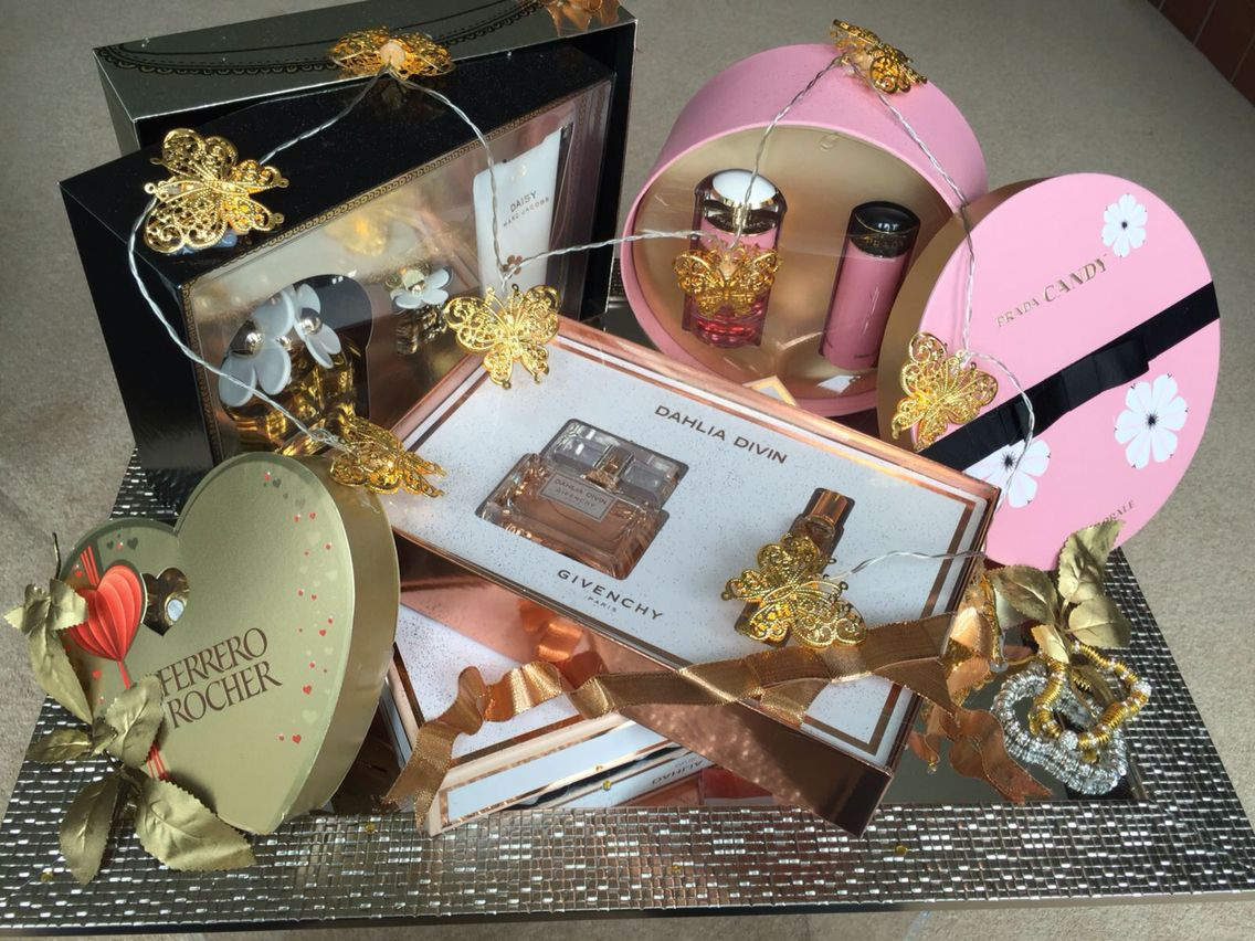 Indian wedding gift baskets perfumes lights gold indian