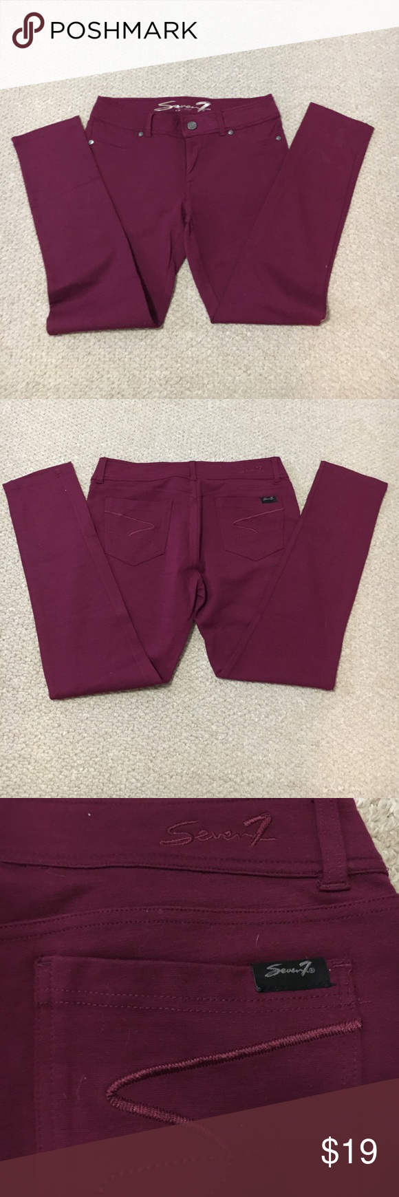 NWOT Seven Knit Jegging ✔️Seven Knit Jegging Burgandy Color ✔️Button and zip front closure ✔️Belt loops ✔️ Stretch/flattering design ✔️NWOT, never worn Seven7 Pants Leggings