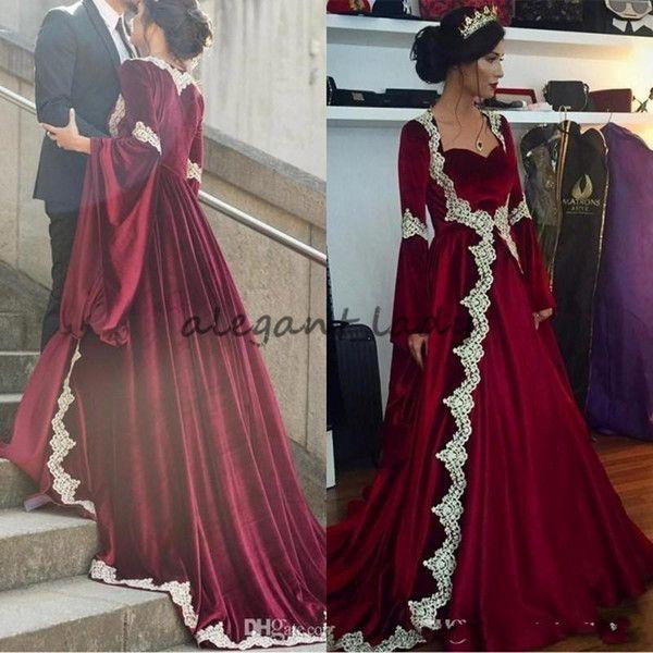 2018 Elegant Burgundy Arabic Long Velvet Formal Evening Gown Muslim Lace Appliques mermaid Long Sleeves Caftan Dubai Prom Party Dress