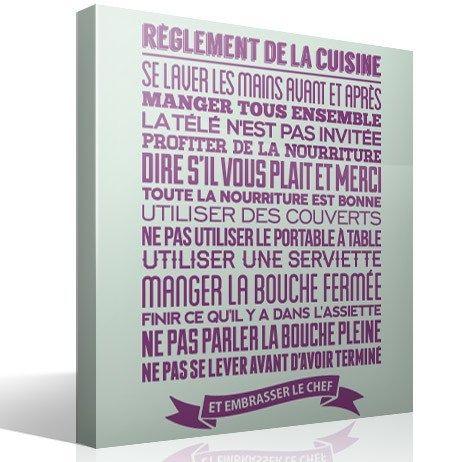 Stickers Muraux: Règlement De La Cuisine 2 | Deco | Pinterest