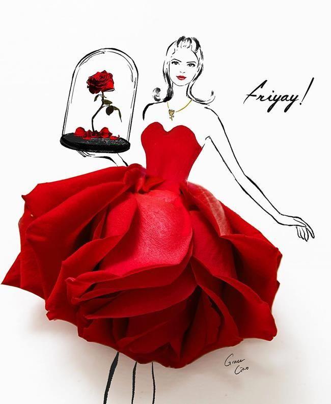 Çiçeklerin Gücü Adına: Çiçekli Moda İllüstrasyonları ile Kadın Elbiseleri – Grace Ciao