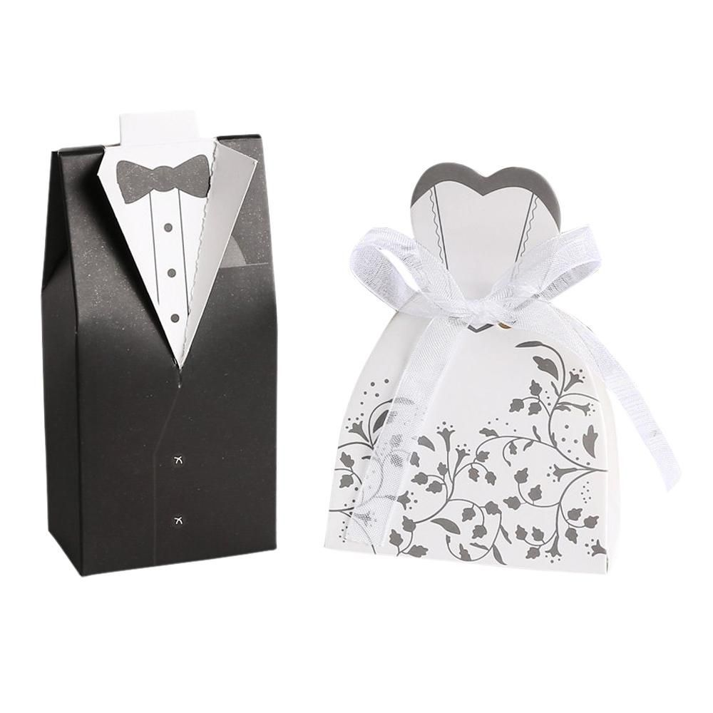 Practical 50 pairs dragee Box black groom + white bride for Wedding ...