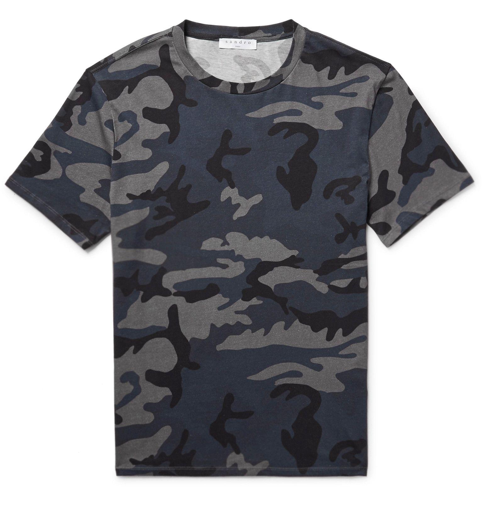 bf52a68b51e2 Sandro Slim-Fit Camouflage-Print Cotton-Jersey T-Shirt | Men's T ...