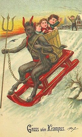 Gruss Vom Krampus Kids Better Behave Or Krampus Will Come Instead Of Santa Creepy Christmas Krampus Vintage Postcards