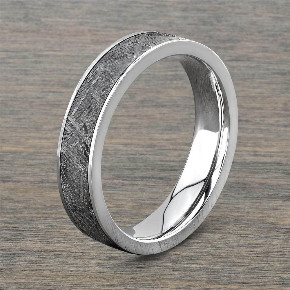 Mens 5mm Meteorite and Cobalt Chrome Wedding Band
