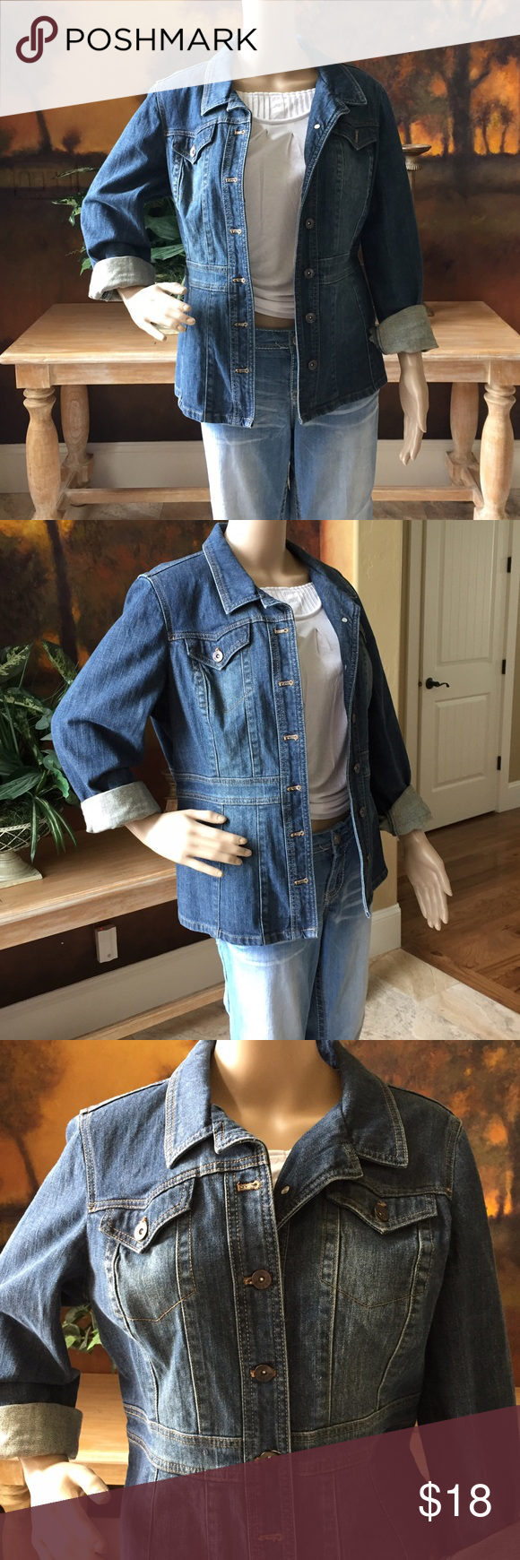 Denim Jacket by Axcess Pretty denim jacket in excellent condition, no rips or stains. Jackets & Coats Jean Jackets
