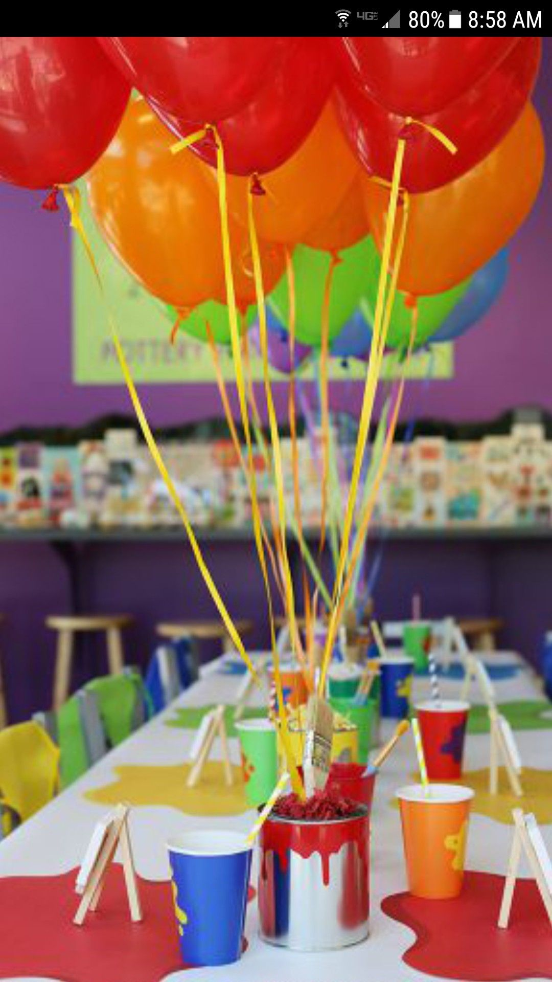 Includes Table Cover /& Balloons Colorful Art Painting Party Theme Tableware Service For 8!