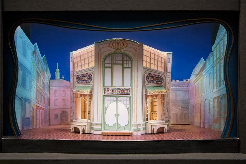David Rockwell S Set Design For Musical She Loves Me Features A 1930s Parfumerie That Pivots Open To Reveal Its In Set Design Theatre Theatre Set Scenic Design