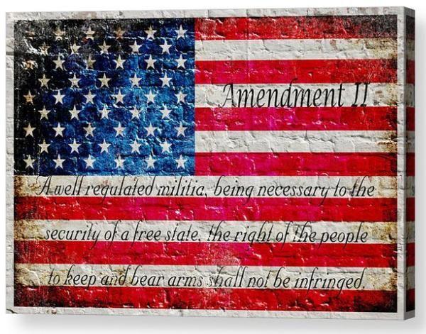 American Flag 2nd Amendment Horizontal Print On Canvas American Flag Painting Flag Painting American Flag