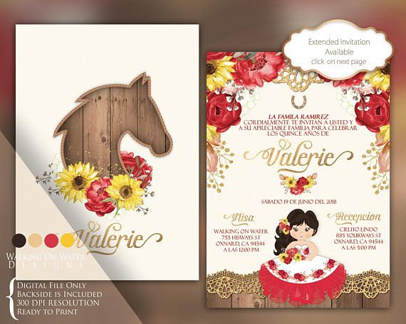 Frases Para Quincenera: Charro Invitation, Hacienda Invitation. Sunflower And Red