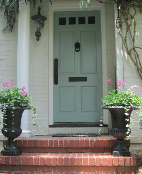 Off White Body White Trim And Antique Blueish Door With Black Accents Painted Front Doors House Exterior House Colors