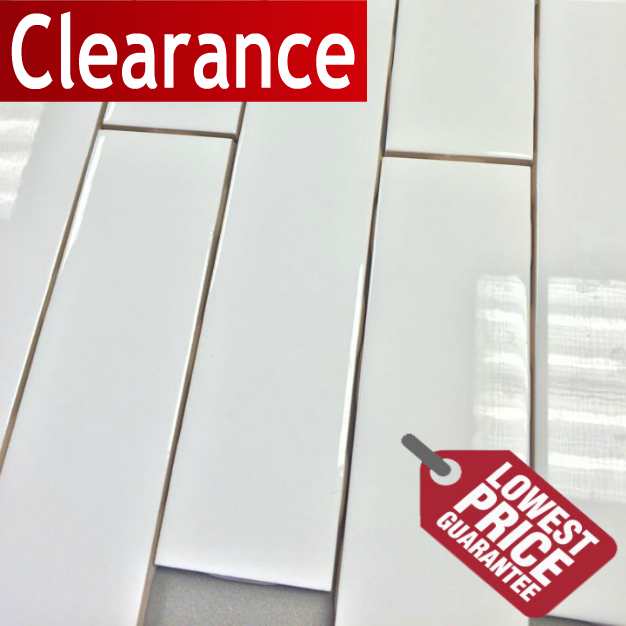 Clearance Metro Subway Tile Bright White X Ceramic Wall Tile - 8 inch square ceramic tiles