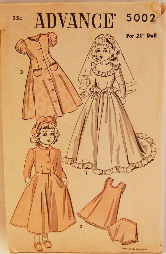 4ee521d3ffb24 Vintage 1940s Advance Doll Clothes for 21