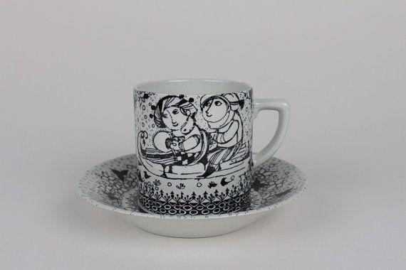 Bjørn Wiinblad - RARE cup & saucer - winter season - couple in love - black white - Nymølle Denmark - Danish mid century