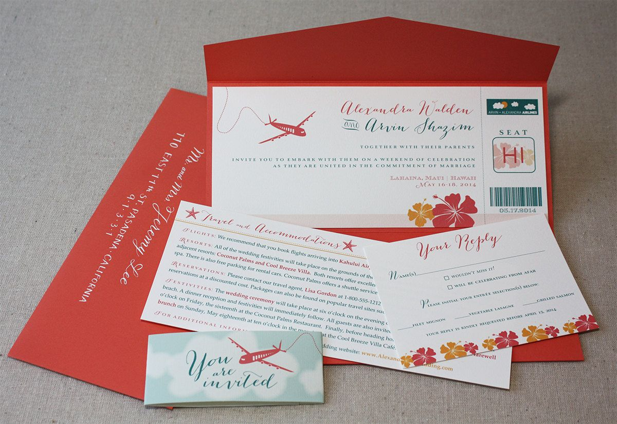 Avion Mignonne Destination Boarding Pass Eco-Friendly Wedding ...