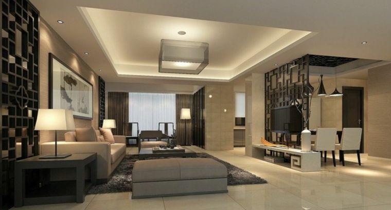 eleganti mobili soggiorno moderni con divani grigi, lampade di ...