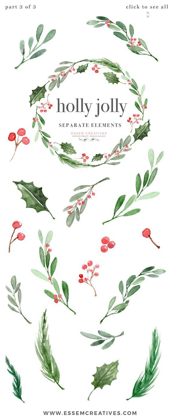 Watercolor Christmas Wreath Clipart, Christmas Card Templates, 5x7 A4