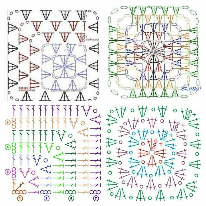 Hækle opskrifter på Granny Squares.. | Hekl og prjón. | Pinterest ...