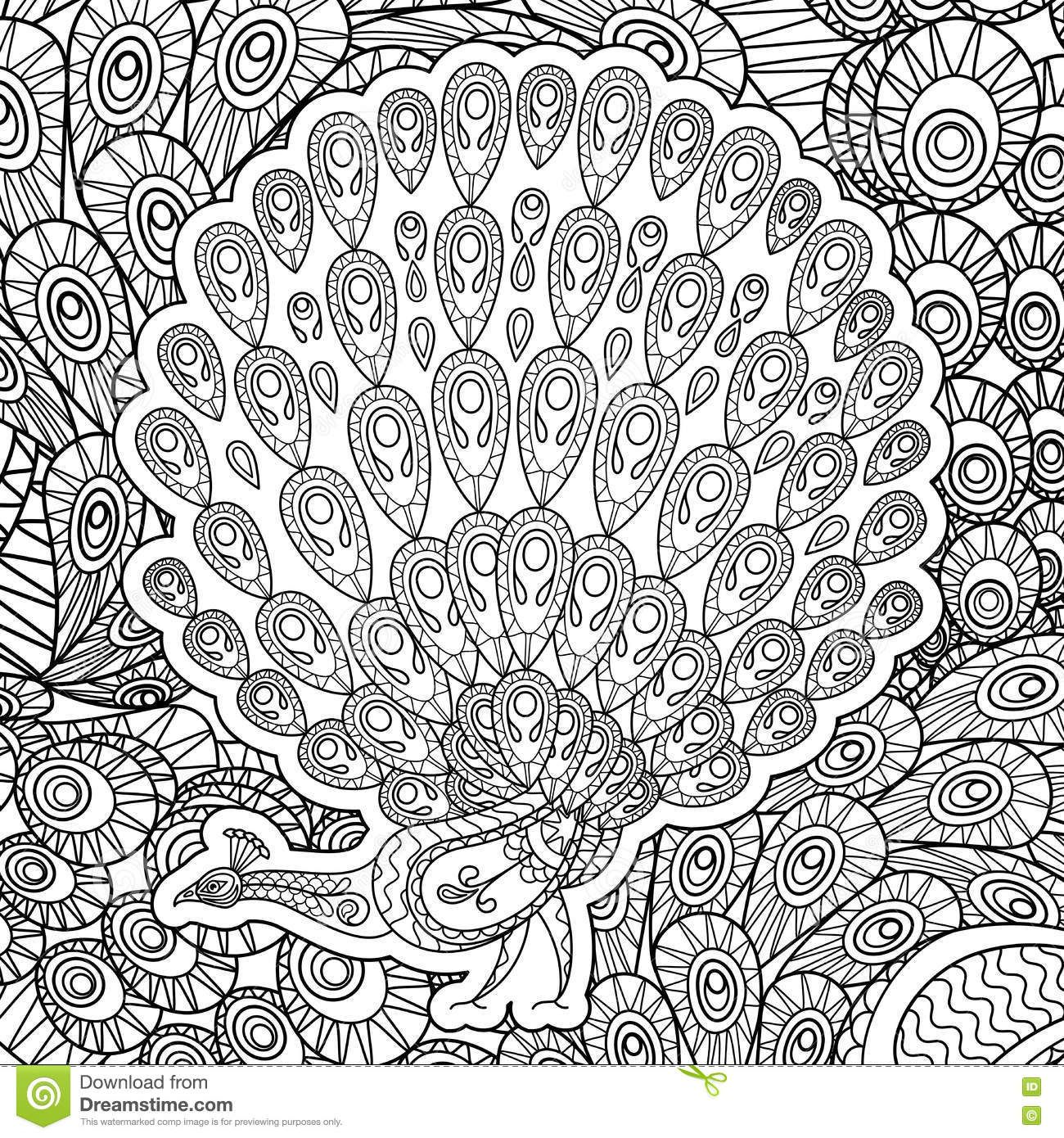 Coloring Page For Adults With Peacock Stock Vector - Image: 79142159 ...