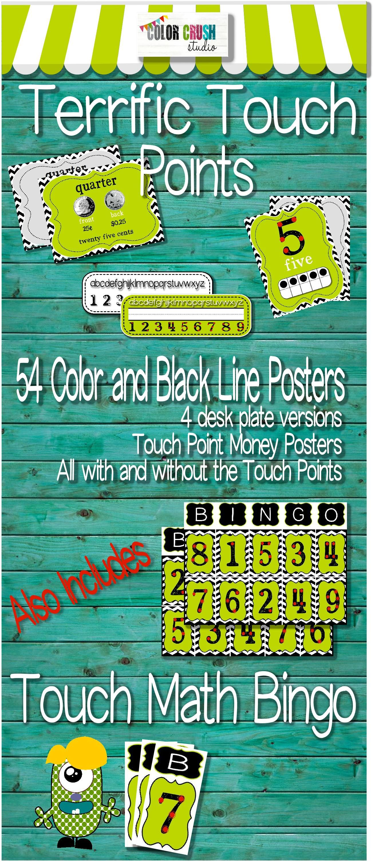 Touch Point Money Number Posters Desk Strips Amp Bingo