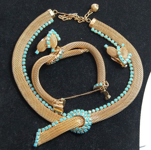 VINTAGE HOBE TURQUOISE MESH BRACELET NECKLACE EARRINGS SET