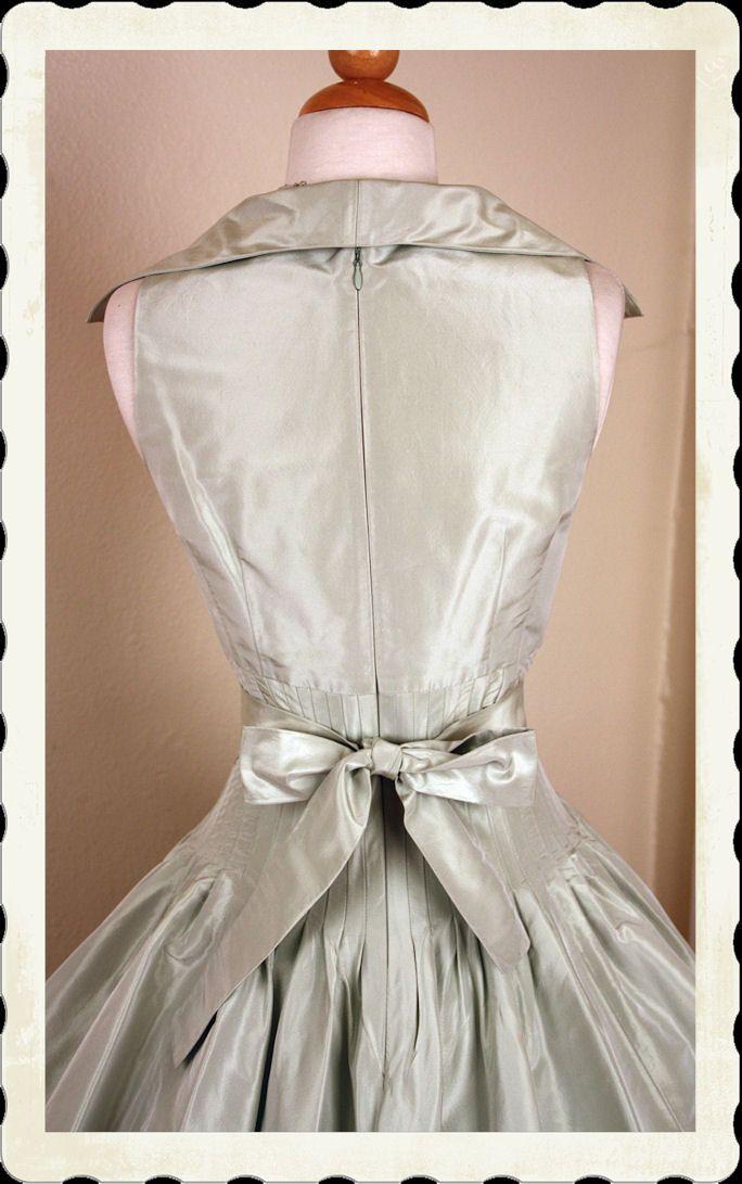 30fd5f0b15f STUNNING 1950 s New Look Style Pale Sea Foam Green Taffeta Party Dress w   Belt by Designer Teri Jon - So Dior - Bridal - VLV - Size M.  295.00