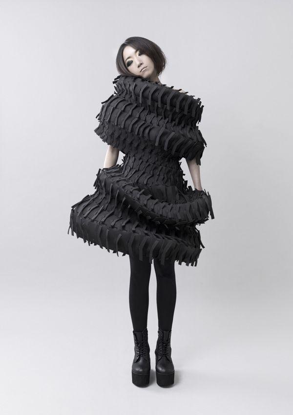 Wearable Art - sculptural black dress with spiralling 3D form & textured surface detail; conceptual fashion design // Jenny Hsu